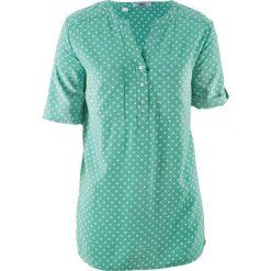 Bluzka tunikowa, krótki rękaw bonprix zielony szałwiowy - biały w kropki. Zielone bluzki damskie bonprix, w kropki, z krótkim rękawem. Za 54,99 zł.