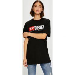 Diesel - Top. Czarne topy damskie Diesel, l, z aplikacjami, z bawełny, z okrągłym kołnierzem. W wyprzedaży za 239,90 zł.