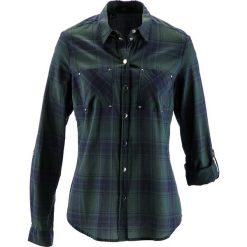 Bluzki damskie: Bluzka w kratę bonprix zielony wojskowy - ciemnoniebieski w kratę