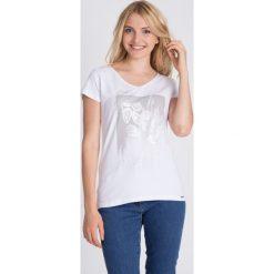 Bluzki asymetryczne: Bluzka ecru ze srebrnym printem QUIOSQUE