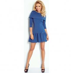 Niebieska Sukienka z Luźnym Golfem z Falbanką na Dole. Niebieskie sukienki koktajlowe marki Molly.pl, do pracy, xl, z tkaniny, z golfem, proste. Za 139,90 zł.