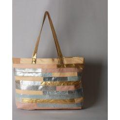 Torebki klasyczne damskie: Złoto – srebrna torebka ze skóry naturalnej