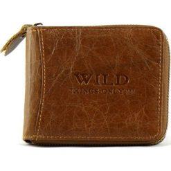 Portfel męski  Wild Things Only  skórzany na suwak. Brązowe portfele męskie Bag Street, ze skóry. Za 59,00 zł.