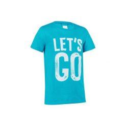 Koszulka z krótkim rękawem. Szare bluzki dziewczęce z krótkim rękawem marki DOMYOS, z elastanu, z kapturem. W wyprzedaży za 8,99 zł.