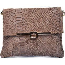Torebki klasyczne damskie: Skórzana torebka w kolorze szarobrązowym – 19 x 23 x 1 cm