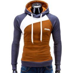 BLUZA MĘSKA Z KAPTUREM MIGUEL - RUDA. Brązowe bluzy męskie rozpinane marki Ombre Clothing, m, z bawełny, z kapturem. Za 79,00 zł.