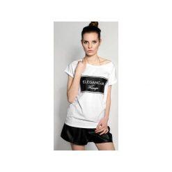 Tshirt ,,ELEGANCJA FRANCJA. Białe t-shirty damskie ŁAP NAS, l, z nadrukiem. Za 79,00 zł.