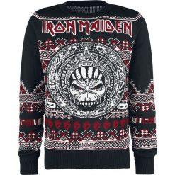 Iron Maiden Holiday Sweater 2018 Sweter z dzianiny wielokolorowy. Czarne swetry klasyczne męskie Iron Maiden, l, z dzianiny, z okrągłym kołnierzem. Za 244,90 zł.