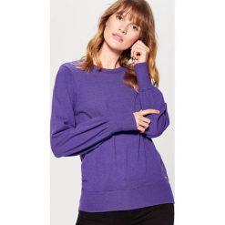 Sweter z marszczonymi rękawami - Fioletowy. Czerwone swetry klasyczne damskie marki Mohito, z bawełny. Za 79,99 zł.