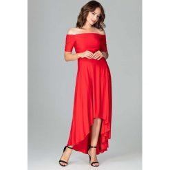 Czerwona Długa Asymetryczna Sukienka z Odkrytymi Ramionami. Szare długie sukienki marki Mohito, l, z asymetrycznym kołnierzem. Za 159,90 zł.