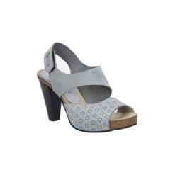 Sandały Nessi  Szare sandały skórzane na słupku  42103. Czarne sandały damskie na słupku marki Nessi, z materiału. Za 208,99 zł.