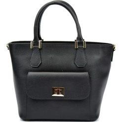 Torebki klasyczne damskie: Skórzana torebka w kolorze czarnym – (S)26 x (W)37 x (G)16 cm