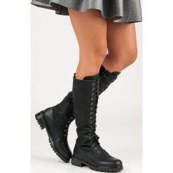Sznurowane kozaki damskie VIVIAN. Czarne buty zimowe damskie marki Kazar, ze skóry, na wysokim obcasie. Za 129,90 zł.