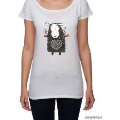 Koszulka damska z owieczką. Niebieskie bluzki nietoperze marki Pakamera, z bawełny. Za 85,00 zł.