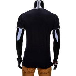 T-SHIRT MĘSKI BEZ NADRUKU S667 - CZARNY. Szare t-shirty męskie z nadrukiem marki Ombre Clothing, m, z bawełny, ze stójką. Za 35,00 zł.
