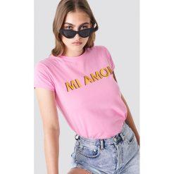 Trendyol T-shirt Mi Amor - Pink. Zielone t-shirty damskie marki Emilie Briting x NA-KD, l. Za 60,95 zł.