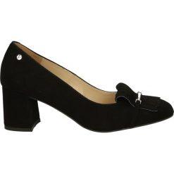 Czółenka - 592-421-S NER. Czarne buty ślubne damskie Venezia, ze skóry. Za 199,00 zł.