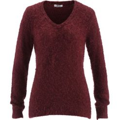 Swetry klasyczne damskie: Sweter z dekoltem w serek bonprix czerwony klonowy