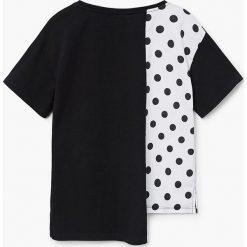 Mango Kids - Top dziecięcy Minniole 110-164 cm. Szare bluzki dziewczęce Mango Kids, z aplikacjami, z bawełny, z asymetrycznym kołnierzem. W wyprzedaży za 39,90 zł.