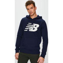 New Balance - Bluza. Czarne bluzy męskie rozpinane marki New Balance, l, z nadrukiem, z bawełny, z kapturem. W wyprzedaży za 199,90 zł.