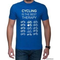 Koszulka T-SHIRT. Cycling is the best therapy. Niebieskie t-shirty męskie z nadrukiem Pakamera, m. Za 85,00 zł.