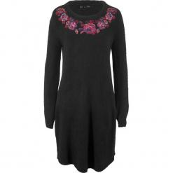 Sukienka dzianinowa bonprix czarny wzorzysty. Czarne sukienki dzianinowe marki bonprix. Za 99,99 zł.