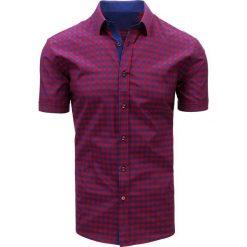 Koszule męskie na spinki: Bordowo-granatowa koszula męska w kratę (kx0819)
