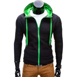 BLUZA MĘSKA ROZPINANA Z KAPTUREM B485 - CZARNA/ZIELONA. Czarne bluzy męskie rozpinane Ombre Clothing, m, z bawełny, z kapturem. Za 39,00 zł.