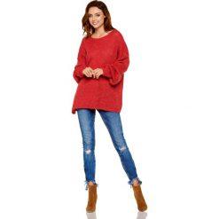 Oversizowy Bordowy Sweter z Bufiastym Rękawem. Niebieskie swetry oversize damskie marki Molly.pl, na co dzień, l, z elastanu, z klasycznym kołnierzykiem, oversize. Za 99,90 zł.