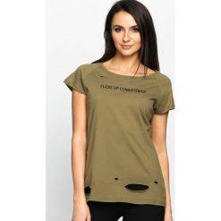 T-shirty damskie: Khaki T-shirt Forbidden