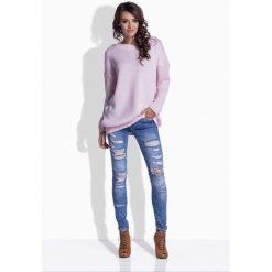 Swetry damskie: Różowy Oversizowy Sweter z Satynową Wstążką na Plecach
