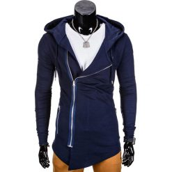 Bluzy męskie: BLUZA MĘSKA ROZPINANA Z KAPTUREM B680 – GRANATOWA