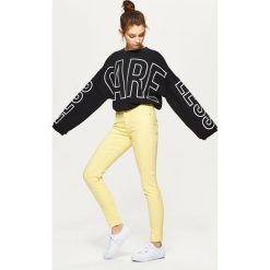 Spodnie damskie: Spodnie high waist skinny - Żółty