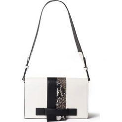 Czarno-biała torebka. Białe shopper bag damskie La Redoute Collections, w paski, z materiału. Za 126,38 zł.