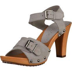 Sandały damskie: Skórzane sandały w kolorze szarym