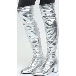 Srebrne Kozaki Electric. Czarne buty zimowe damskie marki Kazar, ze skóry, na wysokim obcasie. Za 129,99 zł.
