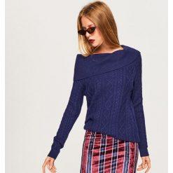 Sweter z odkrywający ramiona - Granatowy. Niebieskie swetry klasyczne damskie Reserved, l. Za 99,99 zł.