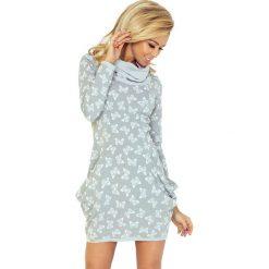 Wiktoria Golf - sukienka z dużymi kieszeniami - wzór BIAŁE MOTYLKI. Białe sukienki na komunię marki numoco, s, z golfem. Za 145,00 zł.