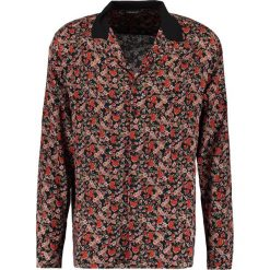 Koszule męskie na spinki: 12 Midnight FLORAL WITH CONTRAST REVER COLLAR Koszula black base/red