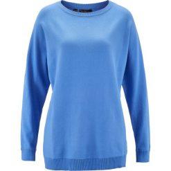 Swetry klasyczne damskie: Sweter z rękawami typu nietoperz bonprix średni niebieski