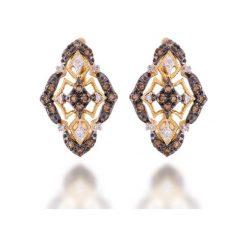 Wyjątkowe Złote Kolczyki - złoto żółte 585, Brązowy brylant 0,33ct. Szare kolczyki damskie marki W.KRUK, z kryształem, srebrne. Za 3290,00 zł.