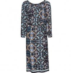 Sukienka bonprix czarno-ciemnoniebieski z nadrukiem. Czarne sukienki z falbanami marki bonprix, z nadrukiem. Za 79,99 zł.