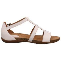 Sandały damskie: Skórzane sandały w kolorze białym