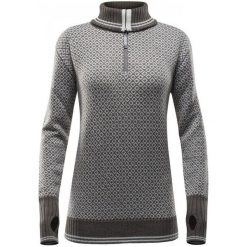 Swetry klasyczne damskie: Devold Sweter Slogen Woman Zip Neck Tobacco/Offwhite M