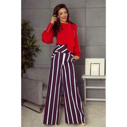 Spodnie damskie: Eleganckie spodnie z wysokim stanem granatowe w biało czerwone pasy