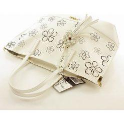 Shopper bag damskie: Miejski shopper z ażurem w kwiaty biel ELIZA