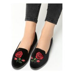 Mokasyny damskie: Czarne Lordsy Roses