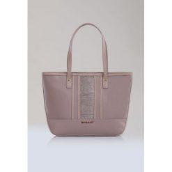 Torba z wzorzystą wstawką. Szare torebki klasyczne damskie Monnari, ze skóry. Za 99,60 zł.