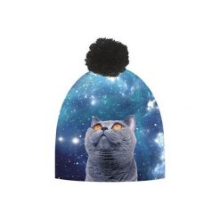 Czapka hauer GALAXY CAT. Czarne czapki zimowe damskie marki Hauer, z nadrukiem, z polaru. Za 69,00 zł.