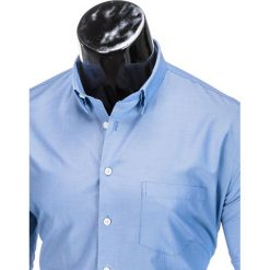 KOSZULA MĘSKA ELEGANCKA Z DŁUGIM RĘKAWEM K391 - NIEBIESKA. Brązowe koszule męskie na spinki marki Ombre Clothing, m, z aplikacjami, z kontrastowym kołnierzykiem, z długim rękawem. Za 39,00 zł.